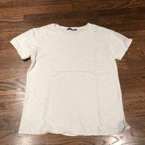 Brandy Melville white distressed t-shirt